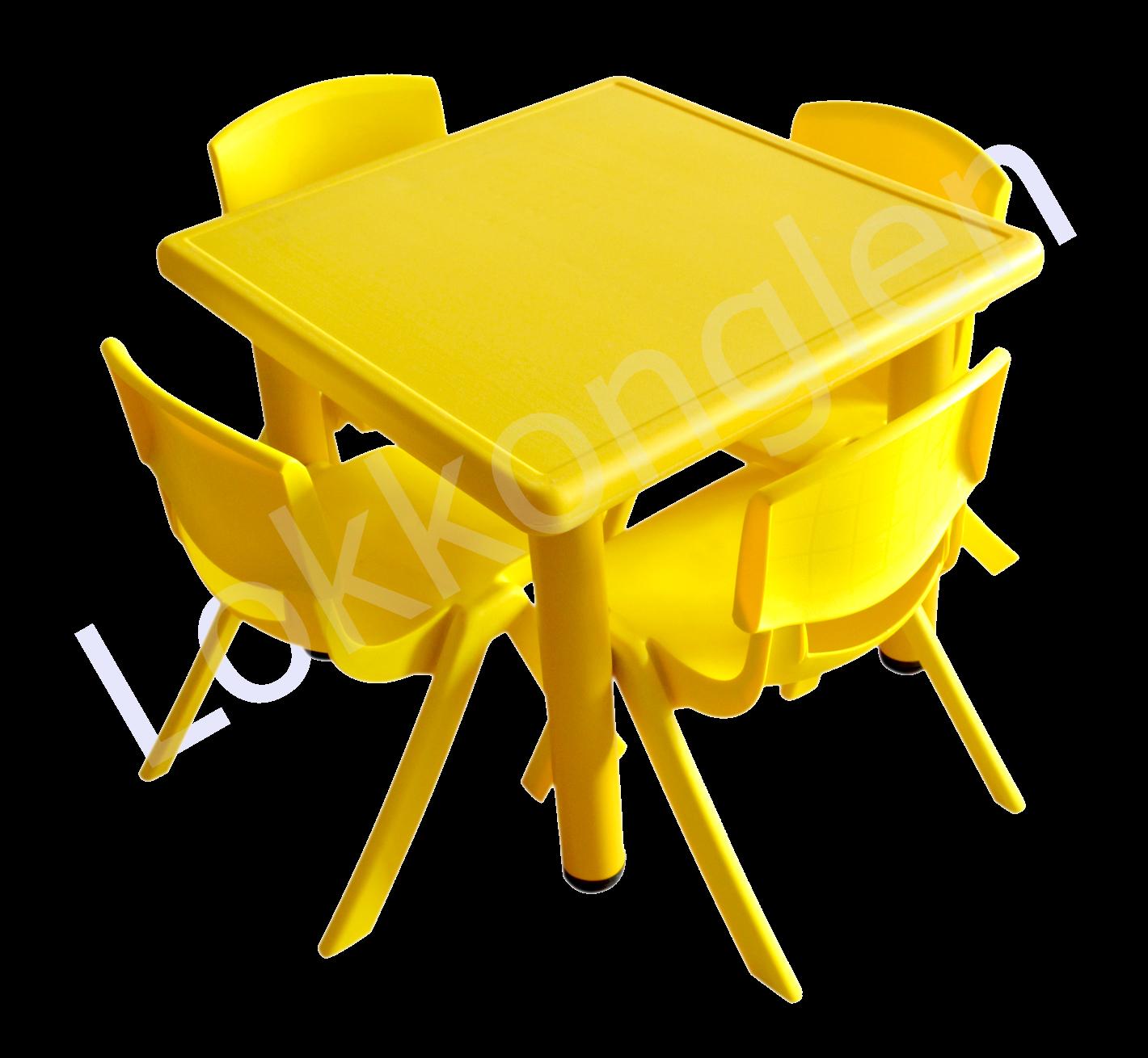 ชุดโต๊ะสี่เหลี่ยมจตุรัส สีเหลือง