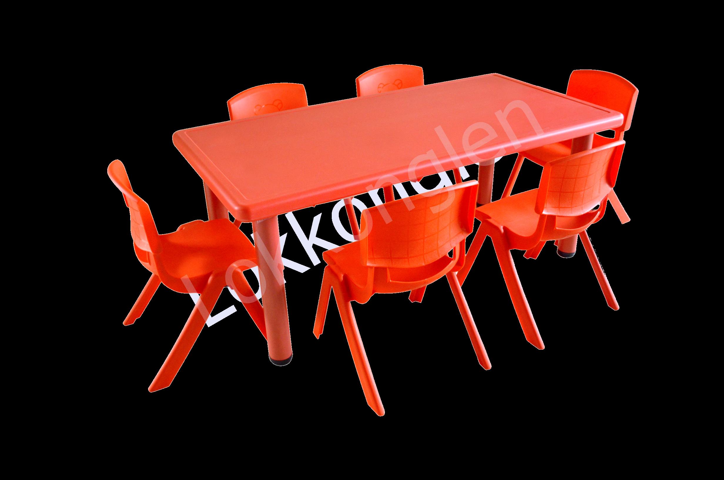 ชุดโต๊ะสี่เหลี่ยมผืนผ้า สีแดง