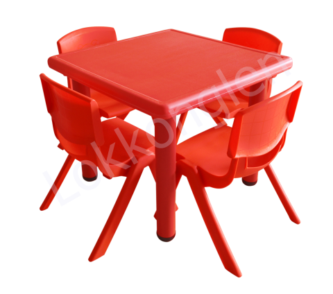 ชุดโต๊ะสี่เหลี่ยมจตุรัส สีแดง